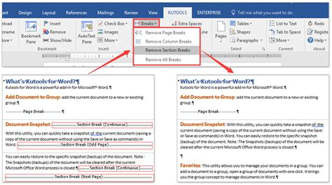 word 2007 insert section break how to remove all section breaks in word