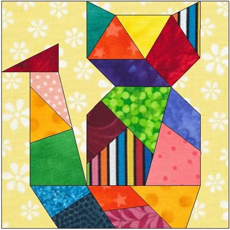 free printable cat quilt patterns all stitches crazy cat paper peicing quilt block pattern