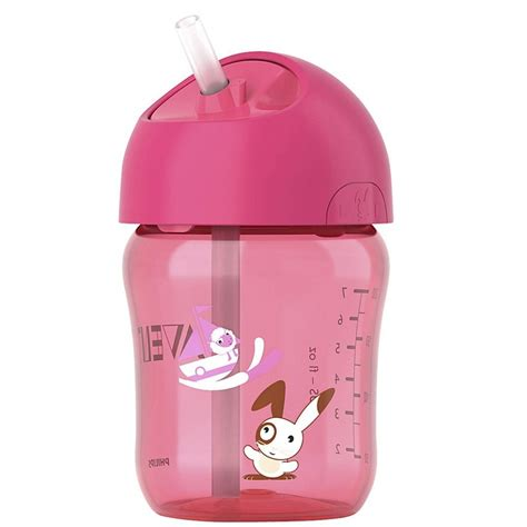 Avent 9oz Straw Cup 12m 260ml Pink philips avent soft silicone straw cup 12m 9oz 260ml