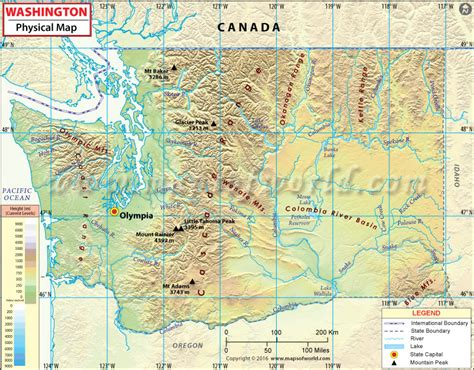 a physical map of washington physical map of washington washington physical map