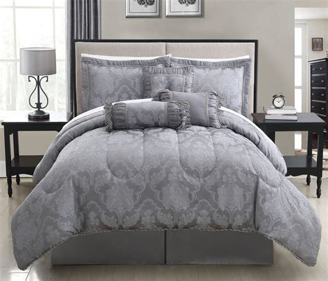comforter bed sets king grey white embossed motif comforter sets full with vintage