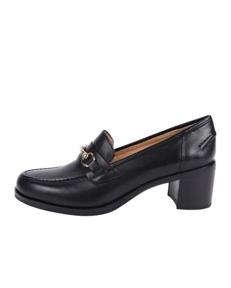 stacked heel loafer pascucci stacked heel loafer in black save 50 lyst