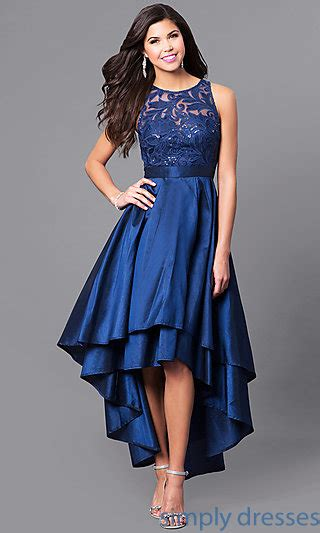 dress branded simply styled navy dress sequined bodice high low prom dress with embroidery