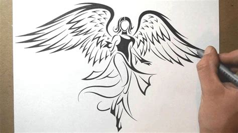 tribal angel tattoo how to draw an tribal design style