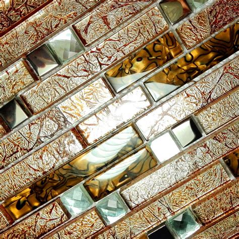 retro golden 3 dimensional mosaic decorative wall tile 6pc glass mosaic tiles