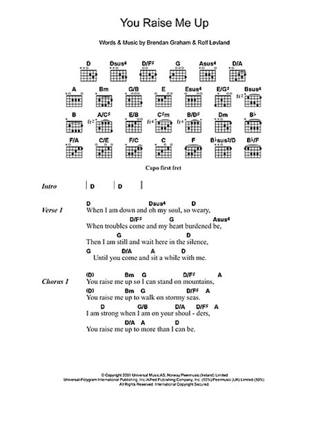 strumming pattern for you raise me up westlife you raise me up sheet music