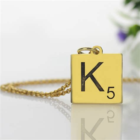 scrabble necklace engraved scrabble initial letter necklace 18k gold plated