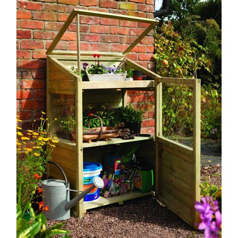 small green house rowlinson mini greenhouse timber styrene glazing potting storage area