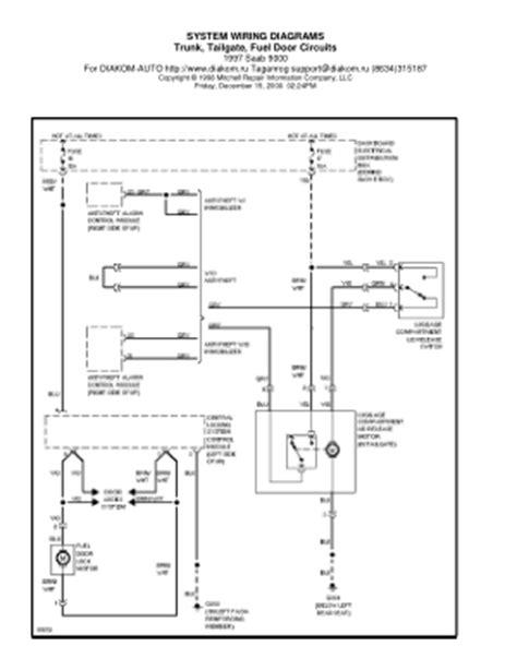 1997 saab 9000 trunk tailgate fuel door circuits wiring