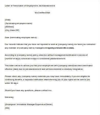 letter termination employment template