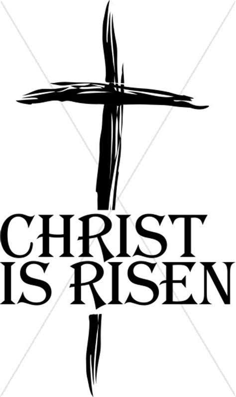 christ  risen clipart cross word art