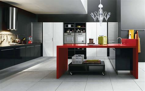 black red white modern kitchen interior design ideas