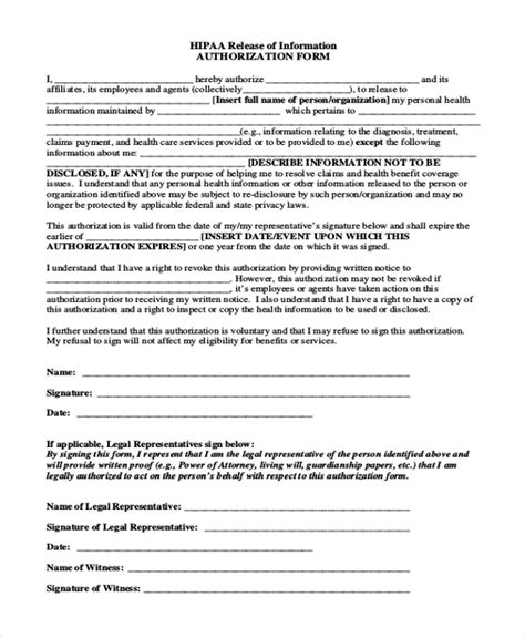 hipaa compliant release form hipaa medical authorization