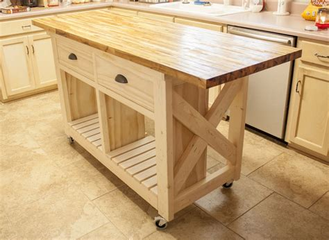 kitchen island butcher block top furniture on wheels always where you need it in no time
