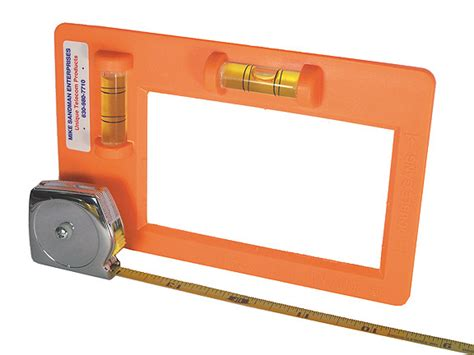 level template for low voltage mounting box with tape measure