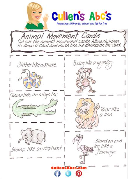 printable animal movement cards animal movement cards online preschool and children s