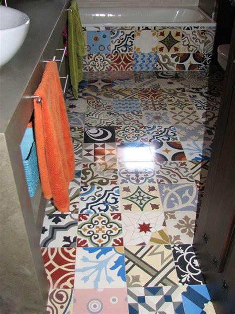 unique bathroom flooring ideas patchwork tiles mix and match your favorite colors for a