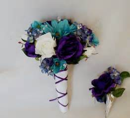 Teal wedding bouquet purple boutonniere reserved for by amorebride