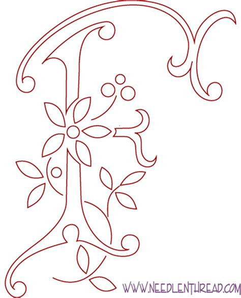 monogram patterns for embroidery letters e and f