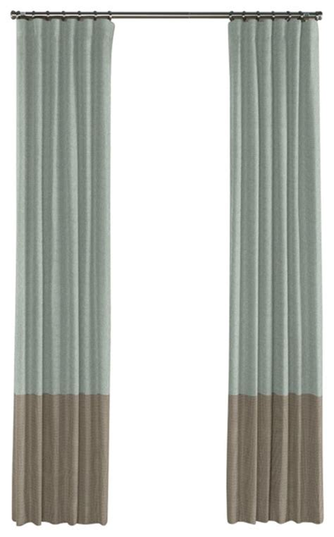 Taupe Color Curtains Muted Aqua And Taupe Linen Color Block Curtain Single Panel Contemporary Curtains By Loom