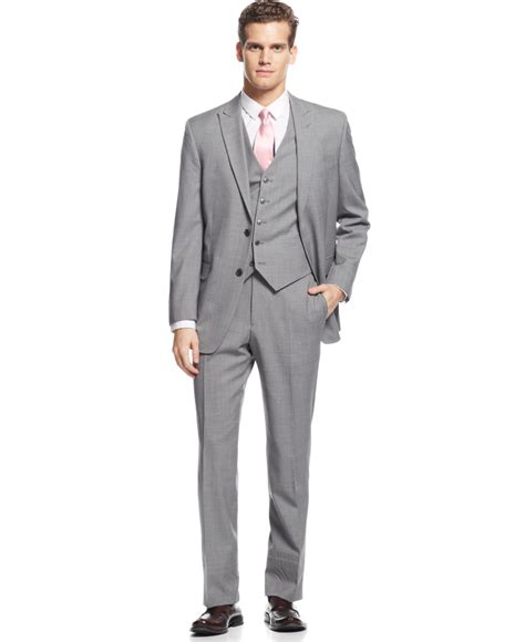 light gray vested suit hilfiger light grey stripe vested suit in gray for