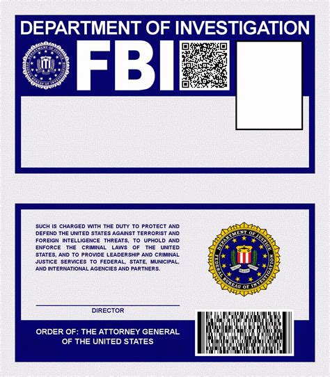 fbi id template fbi badge template