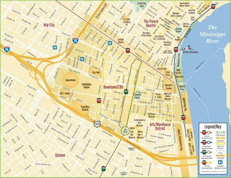 new orleans usa map new orleans cbd and downtown map