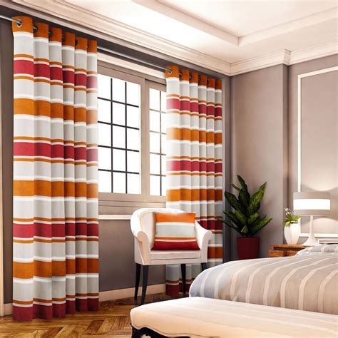 orange red curtains chenille jacquard striped orange red lined ring top