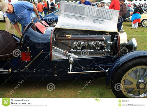 vintage bugatti race car vintage bugatti race car and engine editorial stock photo