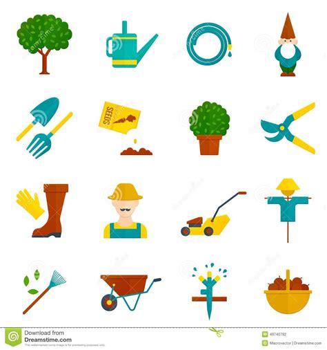 garden layout vector vegetable garden flat icons set stock vector image 49740792