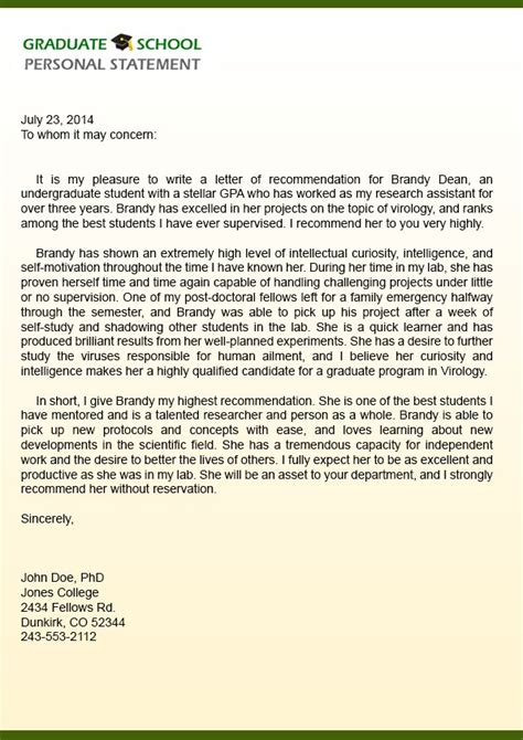 Professional Recommendation Letter For College Sle Reference Letter For School Cover Letter Templates