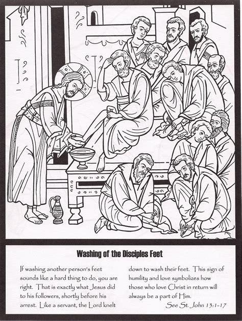 printable holy week coloring book holy thursday washing the disciples feet catholic
