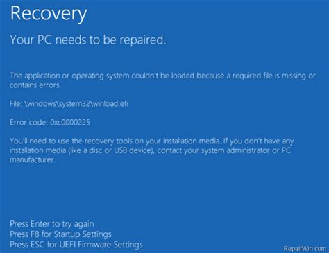 your pc needs to be repaired error 0xc0000225 on windows 10 8 solved repair windows