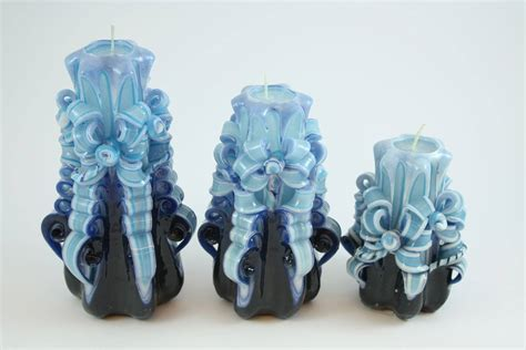 candele intagliate candela intagliata nastro e azzurro candele shop