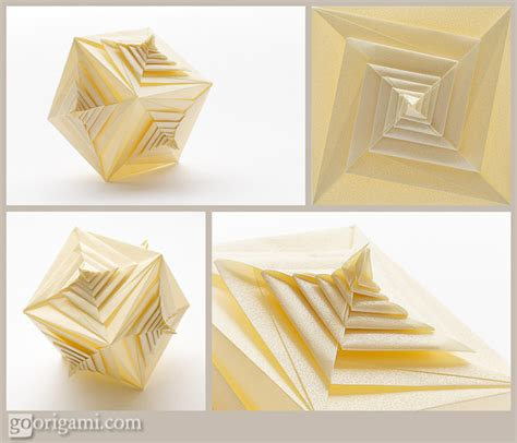 Origami Spiral Box - spiral faced cube by tomoko fuse modular origami go