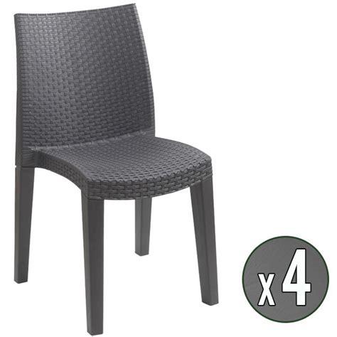 lot de 4 chaises de jardin anthracite en r 233 sine