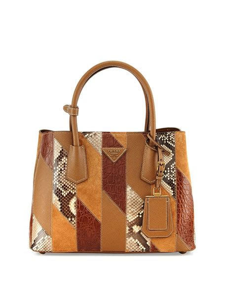 Patchwork Purses - prada patchwork tote bag camel multi cannela