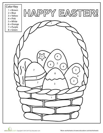 worksheets for preschool easter easter egg basket color by number easter egg basket egg