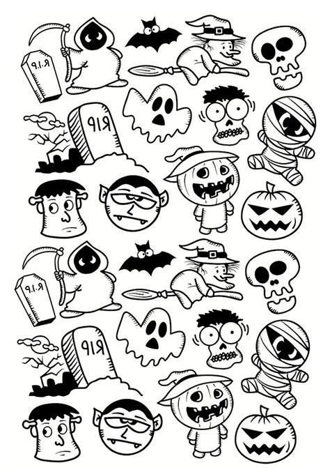 halloween doodle characters halloween coloring pages