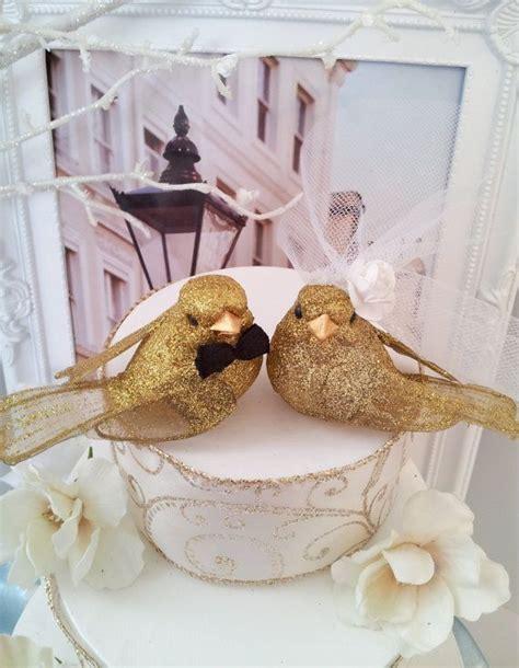 Glittery Gold Bride & Groom Love Birds or Love Bird 50th