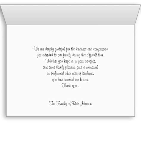thank you letter condolence sle sympathy memorial thank you note card note cards