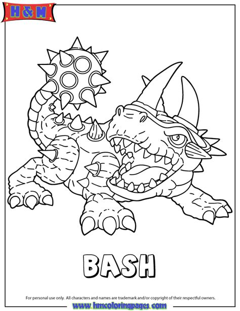 skylanders giants bash coloring page h m coloring pages