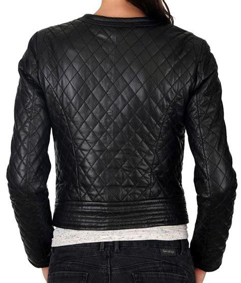 design biker jacket womens black slimfit collarless quilted design motorcycle