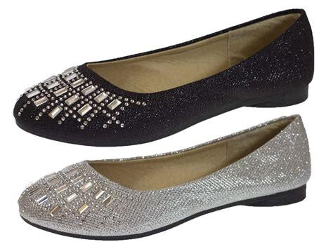 Glitter Flats Wedding by Womens Glitter Ballet Pumps Flat Diamante Wedding Bridal