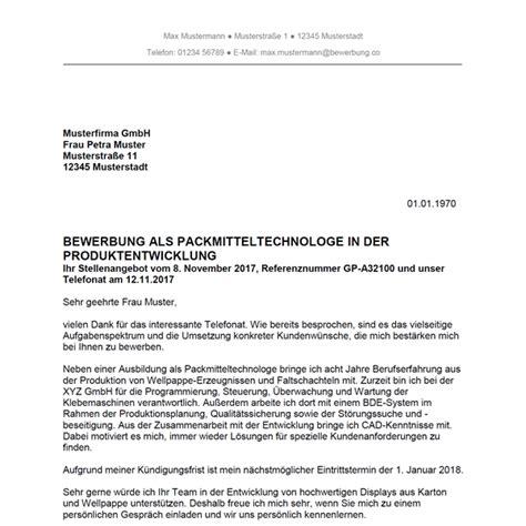 Anschreiben Bewerbung Handelsfachwirt bewerbung als packmitteltechnologe packmitteltechnologin