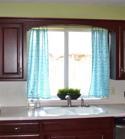 double window treatments blue kitchen curtains with double windows treatment