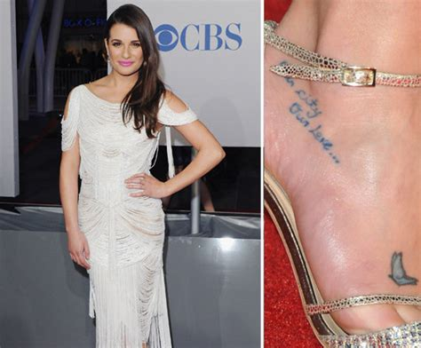 lea michele tattoos lea michele has two tattoos on right foot one is a