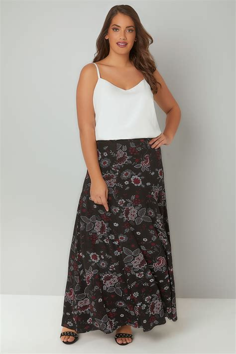 H And M Gift Card Balance Check - black red floral print maxi skirt plus size 16 to 36