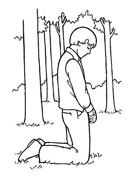 lds coloring pages praying joseph smith praying in the sacred grove