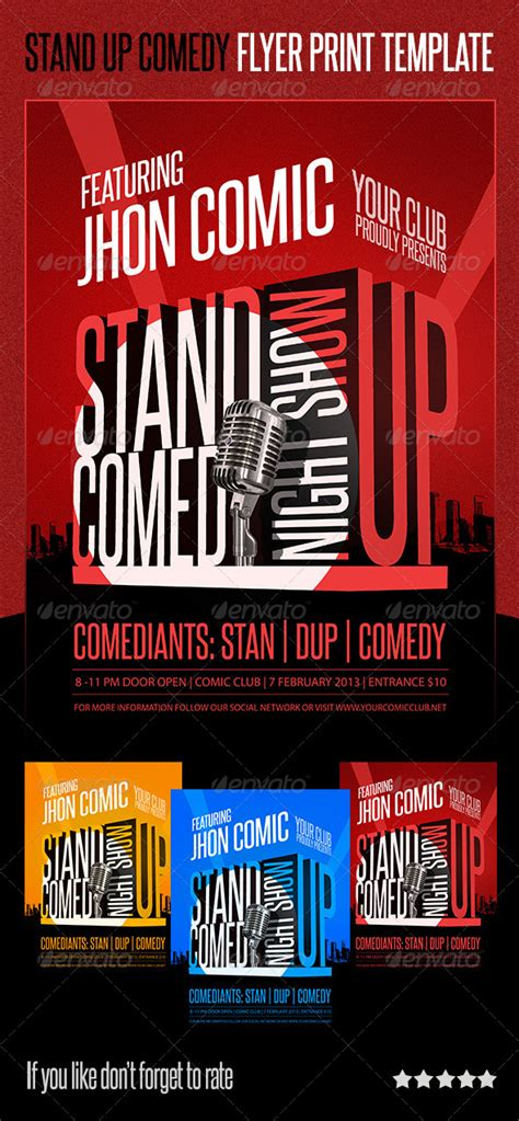 stand up comedy flyer print template by degraph graphicriver